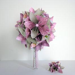 Bouquet mariée origami champêtre rose / vert et accessoire cheveux coordonné