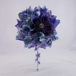 Bouquet mariée origami champêtre et accessoire cheveux assorti