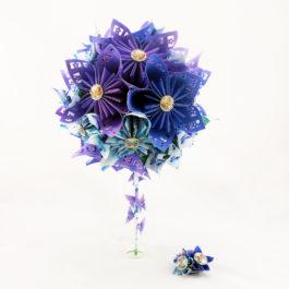 Bouquet mariée champêtre et accessoire cheveux