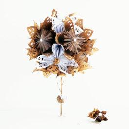 Bouquet mariée origami doré et boutonnière homme assortie