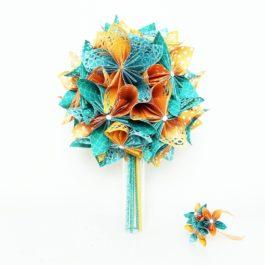 Bouquet mariée origami et accessoire cheveux coordonné