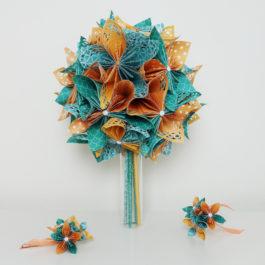 Bouquet mariée origami turquoise / orange et accessoire pour les cheveux coordonné