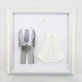 Cadeau couple 1 an de mariage- Cadre origami noces de papier