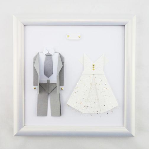 Idee Cadeau 1 An De Couple.Cadeau Couple 1 An De Mariage Cadre Origami Noces De Papier