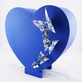 Urne mariage cœur bois bleu