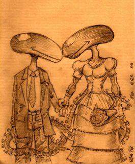 Dessin original mariés ALIEN par Riton Fox