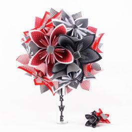 Bouquet mariée origami rockabilly + accessoire cheveux