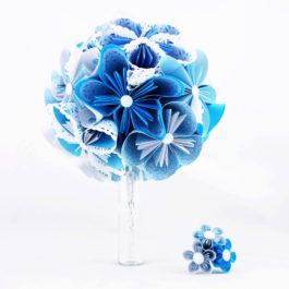 Bouquet mariée bleu et accessoire cheveux
