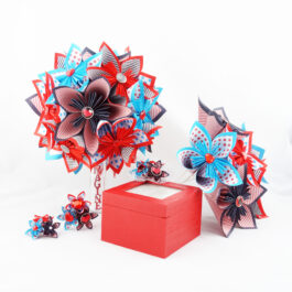 Bouquet mariée origami rockabilly + accessoires + porte-alliances bois + bouquet à lancer