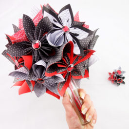 Bouquet mariage origami rockabilly et accessoire cheveux
