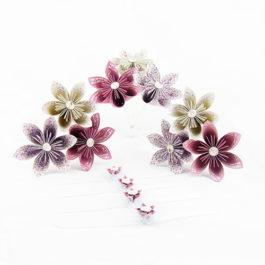 Bouquets mariage origami témoins + bracelets enfant personnalisés en origami thème champêtre / nature en prune, ivoire et argent + boutonnière témoin