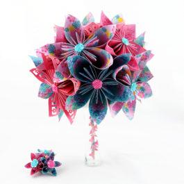 Petit bouquet mariée origami tropical + accessoire cheveux