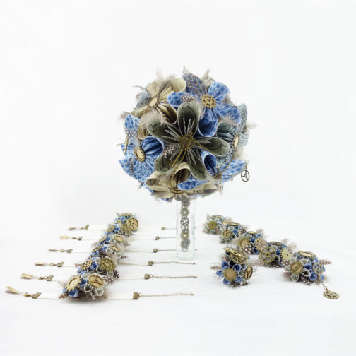 bouquet mariee origami steampunk