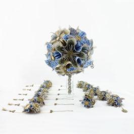 Bouquet mariée origami steampunk + accessoires + bracelets