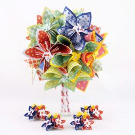 Bouquet mariée origami champêtre + accessoires
