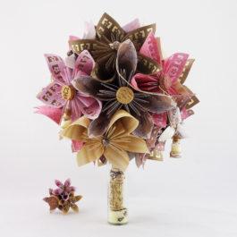 Bouquet de mariée personnalisé en origami thème «Entre terre et mer» + accessoire cheveux mariée offert