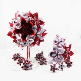 Bouquet mariage origami japon + accessoires + bouquet à lancer