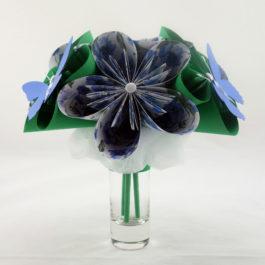 Bouquet origami bleu, vert et papillons