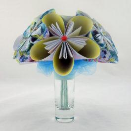 Bouquet papier origami bleu
