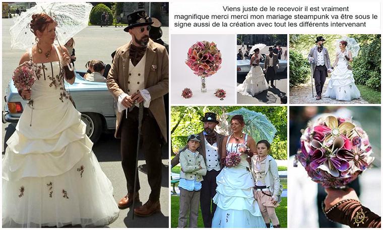 bouquet mariée steampunk vieux rose