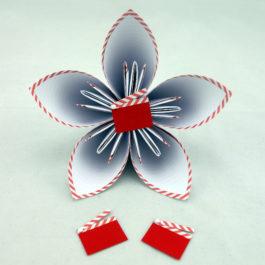 Acompte bouquet de mariée personnalisé en origami thème cinéma rouge, blanc et noir + accessoire cheveux mariée offert + 2 boutonnières + accessoire cheveux enfant : RÉSERVÉ Lidwine