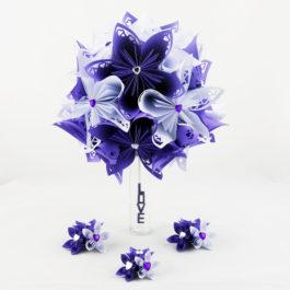 Bouquet de mariage personnalisé en origami blanc et violet + accessoires