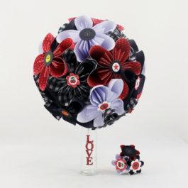 Bouquet de mariage personnalisé en origami rockabilly + accessoire cheveux