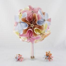 Bouquet de mariage personnalisé en origami + accessoires : RÉSERVÉ Bérangère
