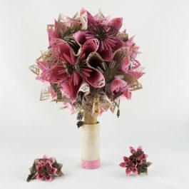 Bouquet de mariée personnalisé en origami + boutonnière