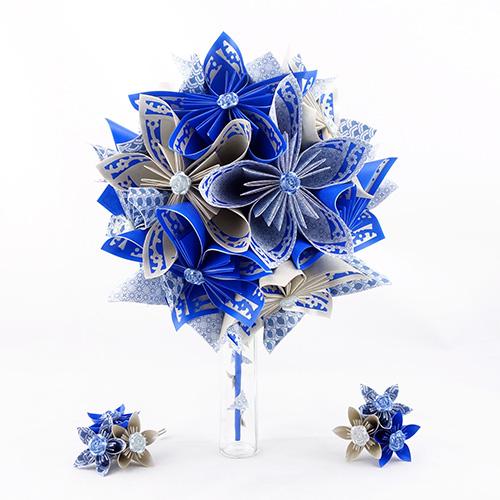bouquet mariage champetre bleu papier origami