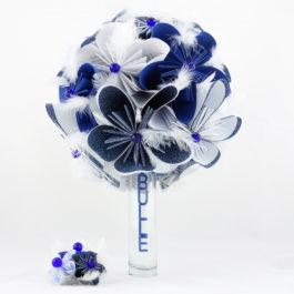 Bouquet de mariée origami personnalisé bleu et blanc