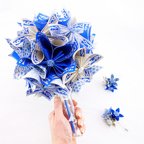 bouquet mariée bleu