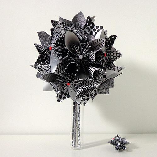 bouquet mariee noir et blanc