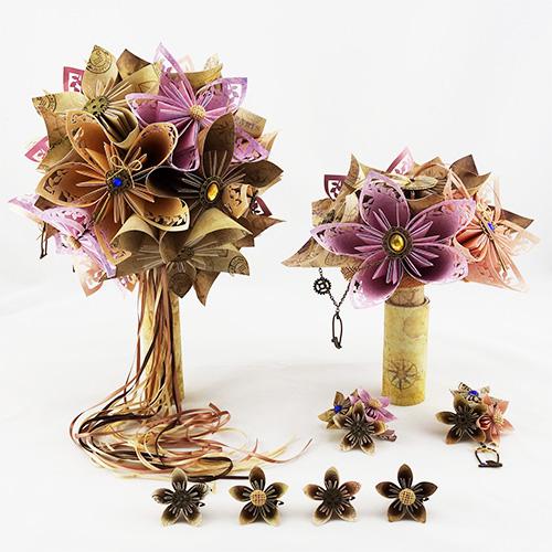 bouquet mariée origami porte alliances voyage