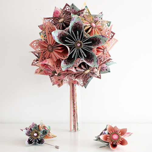 bouquet mariee origami shabby chic