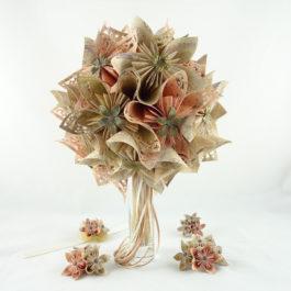 Bouquet mariée personnalisé en origami + accessoires