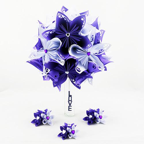 bouquet mariée violet et blanc en papier origami