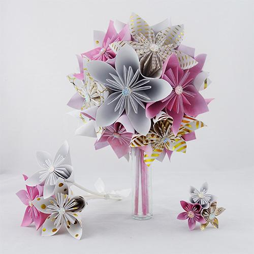 bouquet mariée rétro rose blanc et or en papier origami