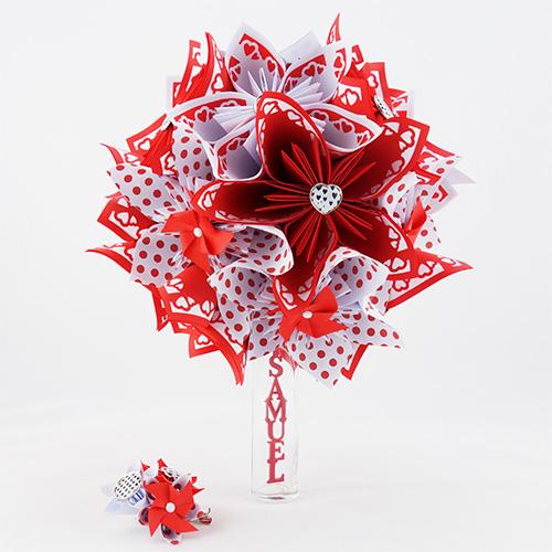 bouquet origami accessoire cheveux rouge soligami