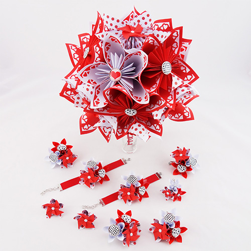 bouquet origami mariage rockabilly guinguette et ses accessoires