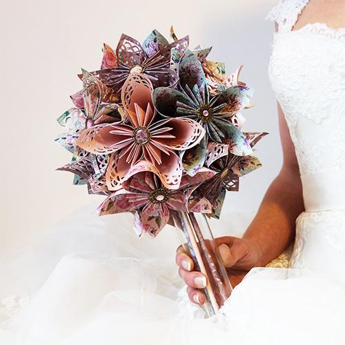 bouquet en origami shabby chic pour mariage