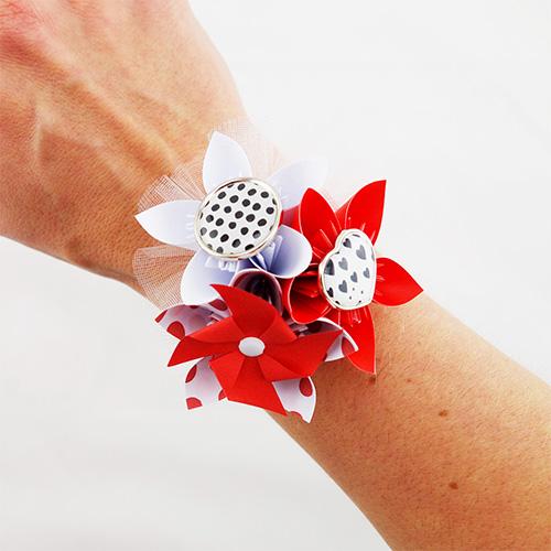 bracelet demoiselle honneur rockabilly rouge