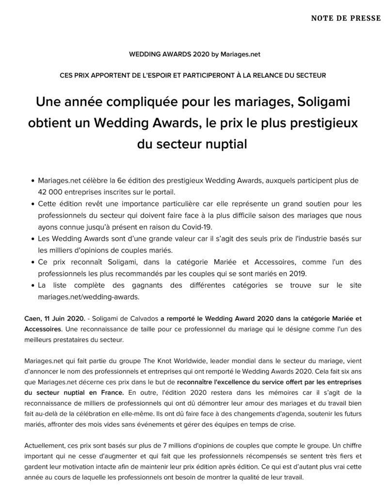 wedding awards 2020 soligami communiqué de presse