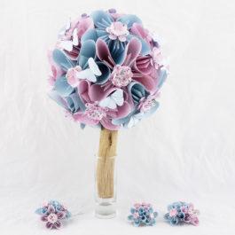 Bouquet mariée champêtre personnalisé en origami et accessoires