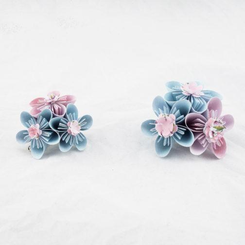 bouquet de mariée en origami personnalisé bleu et rose