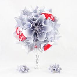 Bouquet de renouvellement de vœux personnalisé en origami et accessoires