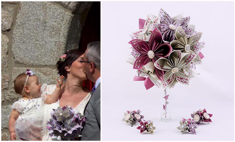 bouquet champetre mariage violet soligami