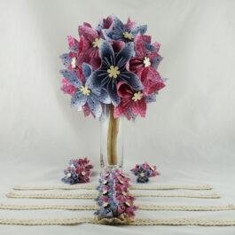 Bouquet de mariée personnalisé en papier thème champêtre et accessoires