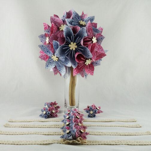 bouquet de mariée champêtre personnalisé en papier