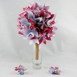 Bouquet de mariée personnalisé en papier thème japon et boutonnière